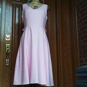 Isaac Mizrahi Pink Linen Blend Sleeveless Dress